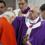 Pope Francis places ashes on head of Slovakian Cardinal Jozef Tomko during Ash Wednesday Mass at the Basilica of Santa Sabina in Rome March 5. (CNS photo/Paul Haring)