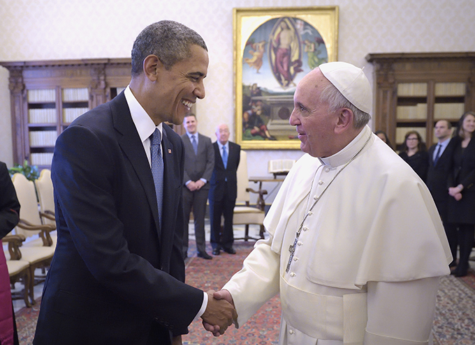 U.S. President Barack Obama shakes hands with Pope Francis during a private audience at the Vatican March 27. (CNS photo/Stefano Spaziani)