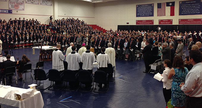 Students, faculty, staff and family members gather at John Paul II High School on April 28 for a Mass of Thanksgiving, following the canonization of St. John Paul II on April 27.