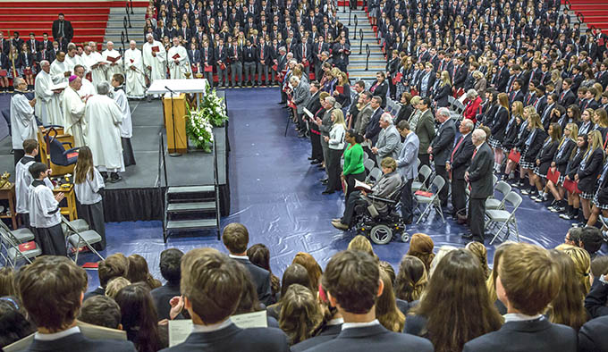 Bishop Kevin J. Farrell celebrates Mass during the 10 year anniversary Mass at John Paul II High School in Plano on Oct. 22. (RON HEFLIN/Special Contributor)