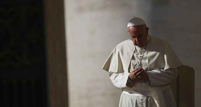 Pope Francis leads his general audience in St. Peter's Square at the Vatican Nov.19. (CNS photo/Tony Gentile, Reuters)