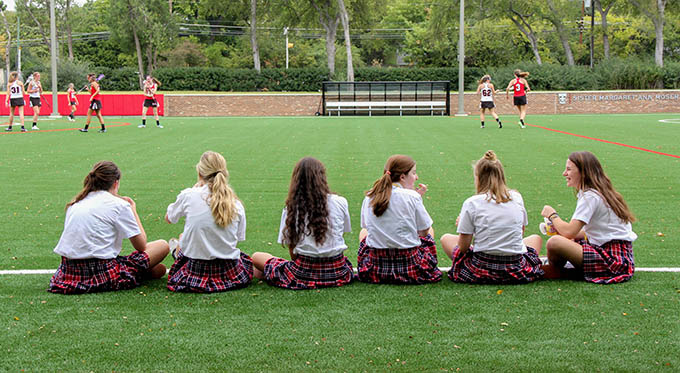 Students make use of the athletic field at Ursuline Academy of Dallas, which on Oct. 9 was named the Sister Margaret Ann Moser, O.S.U. Athletic Field. (JENNA TETER/The Texas Catholic)