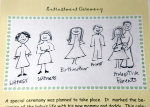 A drawing and short story of the entrustment ceremony for the adoption of Jacob Vargo, photographed at their home on Nov. 15 in Plano. The drawing is part of book created by mother Sabina Vargo to show the adoption process to their young family members who might not understand adoption. (BEN TORRES/Special Contributor)