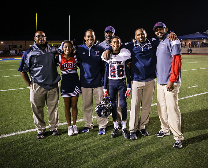 From left, Bishop Dunne Catholic School Coach John Johnson, Alesia Johnson, Coach Walter Johnson Jr., Ron Johnson, Walter Johnson III, Head Coach Michael Johnson and David Johnson share a family bond of faith and football. (DON JOHNSON/Special Contributor)