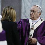 Pope Francis gives ashes during Ash Wednesday Mass at the Basilica of Santa Sabina in Rome Feb. 18. (CNS photo/Paul Haring)