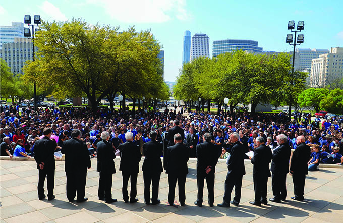Catholic advocates listen to bishops from dioceses throughout Texas on the south steps of the State Capitol on Texas Catholic Faith in Action Advocacy Day on March 24 in Austin. (JENNA TETER/The Texas Catholic)