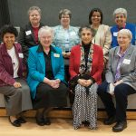 Members of the School Sisters of Notre Dame, front from left, Sister Raquél Ortiz of St. Louis, Sister Mary Delbert Weisensel, Sister Theresa Khirallah and Sister Dorothy Eggering; back from left, Sister Juliette Daigle, Sister Dawn Achs, Sister Beatriz Martinez-Garcia and Sister Carol George. (JENNA TETER/The Texas Catholic)