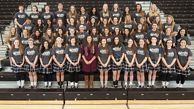 "To show support for volleyball coach Tricia Roos, many members of the student body of Bishop Lynch High School donned ""Annabelle's Army"" T-shirts and participated in the March for Life in January in Dallas. (JENNA TETER/The Texas Catholic)"