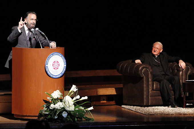 "Rabbi David Rosen, director of interreligious affairs for the American Jewish Council, speaks at the University of Dallas 2015 Eugene McDermott Lecture, ""Nostra Aetate - 50 years Later: Commemorating Jewish-Catholic Relations,"" on Nov. 4 at the Morton H. Meyerson Center in Dallas. Also speaking at the event (seated) was Bishop Brian Farrell, head of the Vatican's Pontifical Council for Christian Unity. (BEN TORRES/Special Contributor)"