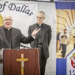 Bishop Kevin J. Farrell, left, announces the appointment of Msgr. John Gregory Kelly, right, a diocesan priest and Vicar for Clergy, as a new Diocese of Dallas auxiliary bishop during a news conference at the Diocese of Dallas Pastoral Center on Dec. 16. (RON HEFLIN/Special Contributor to The Texas Catholic)