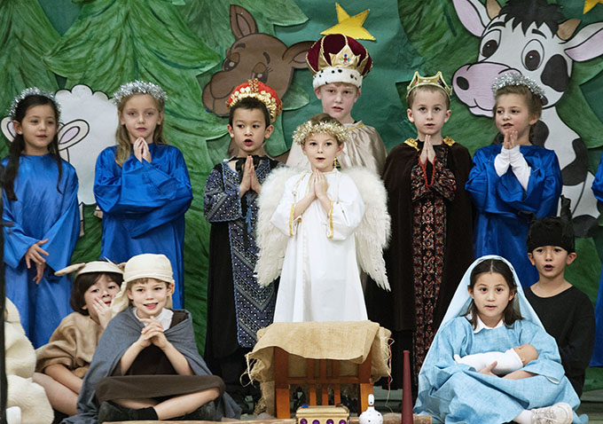 First-graders perform a nativity play Dec. 9 for parents at St. Patrick Catholic School. (JENNA TETER/The Texas Catholic)
