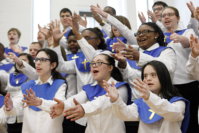 Notre Dame School choir performs during a blessing ceremony for the renovated facilities at the Notre Dame School, on Wednesday, April 20, 2016 in Dallas. (BEN TORRES/Special Contributor)