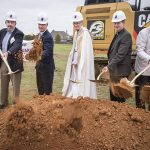 From left, Bob Poynor, chair of the building committee; Brian Loughmiller, mayor of McKinney; Auxiliary Bishop Greg Kelly; Father Don Zeiler, pastor at St. Gabriel; and Deacon Mike Seibold during the groundbreaking ceremony at St. Gabriel the Archangel Catholic Church in McKinney on May 15. (RON HEFLIN/Special Contributor)