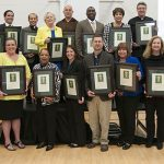 Recipients of The Catholic Foundation grants with their plaques during the May 3 ceremony at Notre Dame School of Dallas. (JENNA TETER/The Texas Catholic)