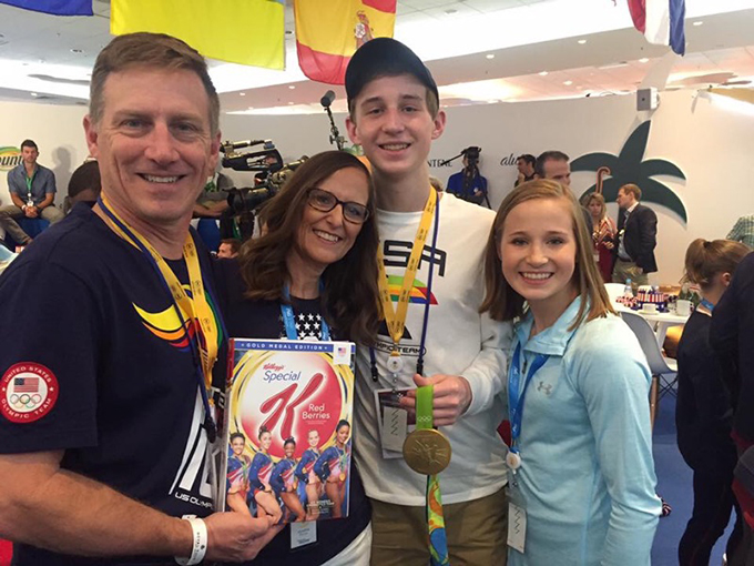 Madison Kocian, far right, with her parents, Thomas and Cindy, and brother Ty in Rio de Janiero. Kocian won