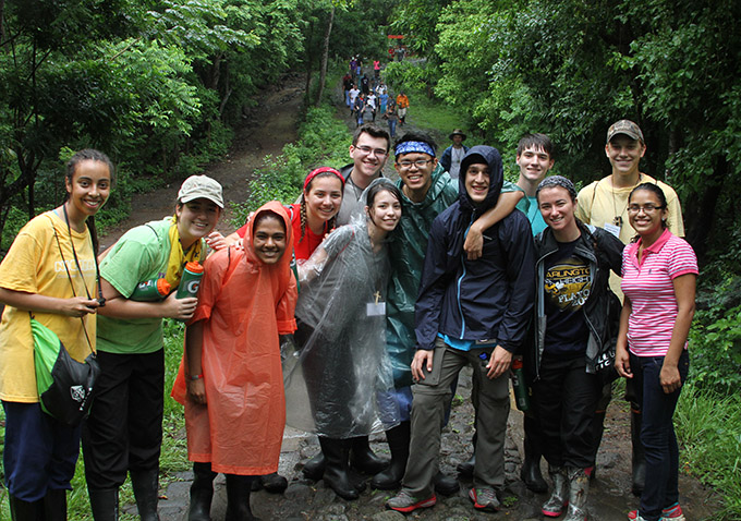 Young missionaries from five Dallas Catholic high schools pose for a photo during their walk through a forest in Nicaragua. Fifty students and 25 chaperones spent 10 days in Nicaragua serving some of the country's poorest communities. From left are Seghen Kalleb, Marissa Duagan, Ann Platt, Katherine Coolman, Andrew Burton, Louisa Montaño, Kyle Melliza, John Flaherty, Brady Thomas, Kathryn Gibbs, and Benjamin Walter. (SETH GONZALES/The Texas Catholic)