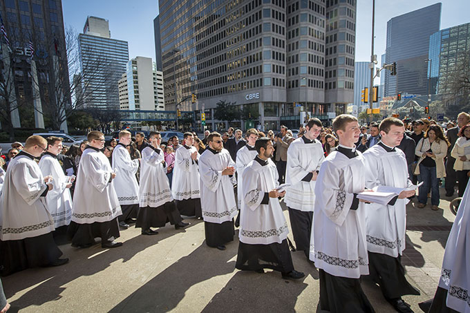 Seminarians walk to the Cathedral Shrine of the Virgin of Guadalupe for the installation Mass for Bishop Edward J. Burns on Feb. 9. (RON HEFLIN/Special Contributor)