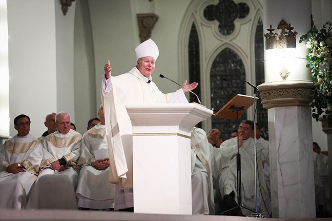 Bishop Edward J. Burns becomes the eighth bishop of the Catholic Diocese of Dallas on Feb. 9 at the Cathedral Shrine of the Virgin of Guadalupe. (KEVIN BARTRAM/Special Contributor)