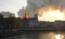 Fire engulfs top of Notre Dame Cathedral in Paris