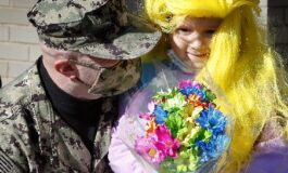 Navy dad, back home after 15 months away, surprises daughter at Catholic school